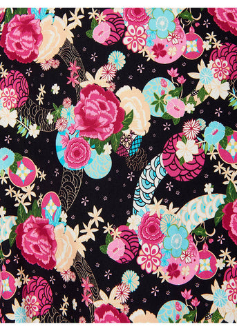 Collectif Dolores Peony Floral 50's Swing Dress Black