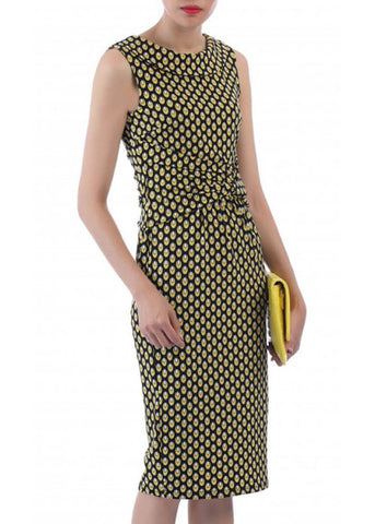 Jolie Moi Delain Geo 50's Pencil Dress Yellow