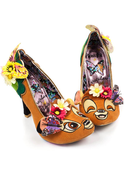 Irregular Choice Disney Bambi Hyah Pumps Brown Green