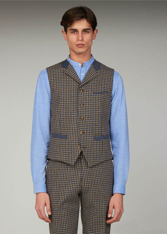Gibson London Fred Gingham Waistcoat Brown blue