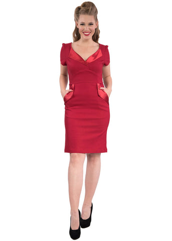 Rock Steady The Cat's Meow 60's Wiggle Dress Red