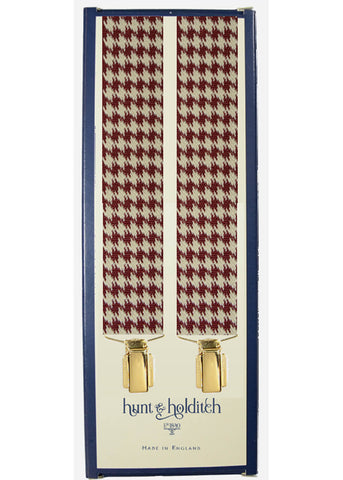 Hunt & Holditch Braces Houndstooth With Golden Clips Burgundy