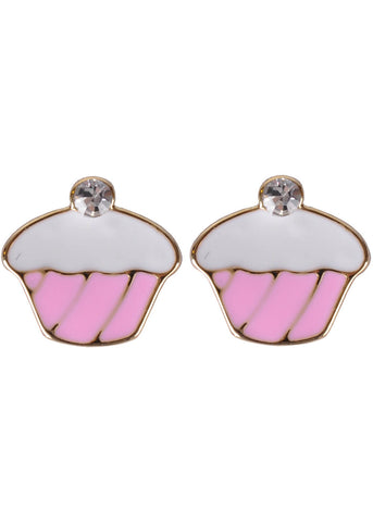 Succubus Crystal Cupcake Earrings Pink