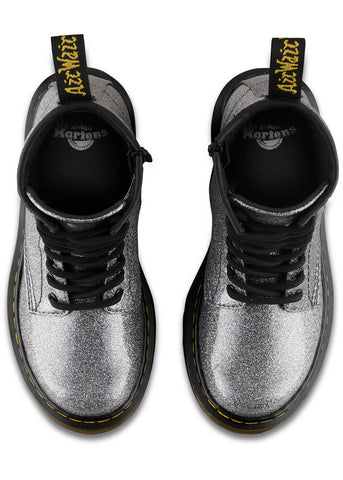 Dr. Martens Junior 1460 Coated Glitter BootsGunmetal