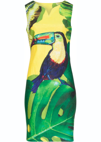 Smashed Lemon Toucan 60's Pencil Dress Yellow Green