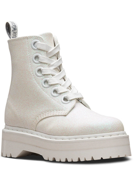 Dr. Martens Molly Glitter Lace-Up Boots Iridescent White