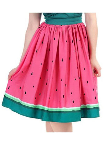 Collectif Jasmine Watermelon 50's Swing Skirt Pink Green