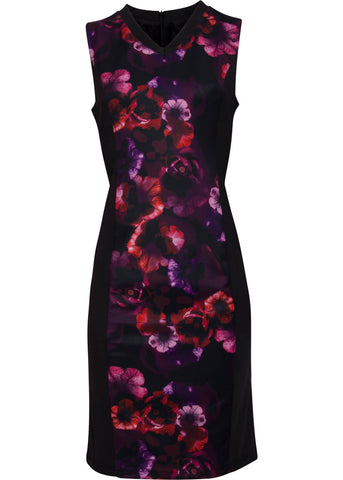 Smashed Lemon Fantasy Rose Pencil Dress Purple