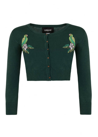 Collectif Jessie Tropical Parrot 50's Cardigan Green
