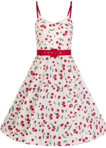 Hell Bunny Sweetie Cherry 50's Swing Dress White