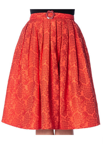 Banned Florida Jacquard 50's Skirt Red