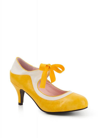Lulu Hun Jeanie 50's Pumps Yellow White
