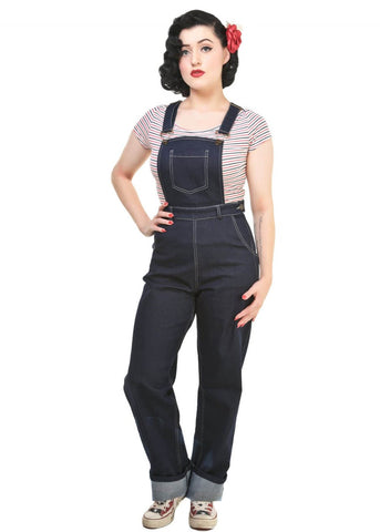 Collectif Pippa Denim Dungarees Navy Blue