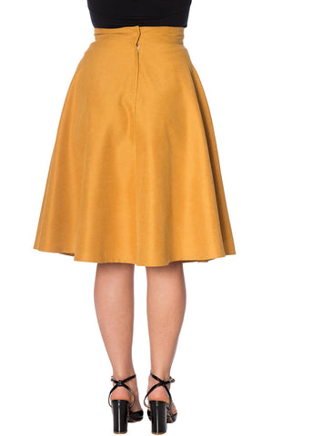 Banned Sophicated Lady 50's Swing Skirt Mustard