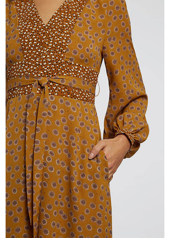 Louche Jordi Dandelion Mix 70's Dress Mustard