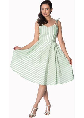 Banned Candy Stripe 50's Swing Dress Green