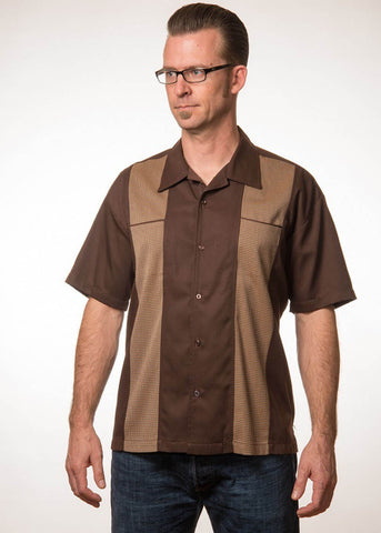 Rock Steady Men Houndstooth Panel Shirt Brown