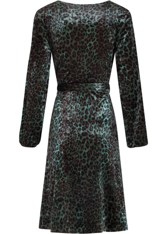 Smashed Lemon Envy The Leopard 60's A-Line Dress Khaki Black