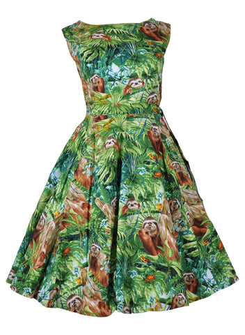 Victory Parade Rosa Sloth Jungle 50's Swing Dress Green