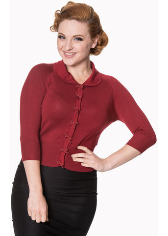 Banned April Bow 50's Cardigan Burgundy Color