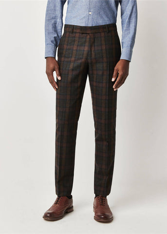 Gibson London William Tartan Trousers Sage Green