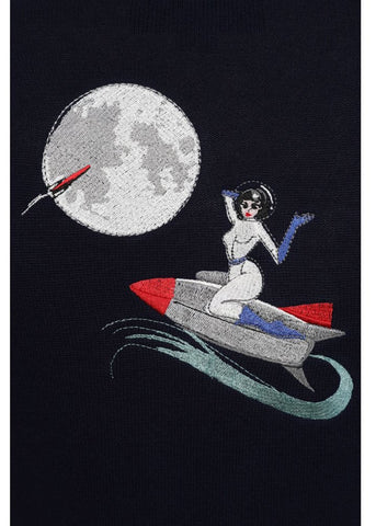 Collectif Lucy On The Moon 50's Cardigan Navy Colour