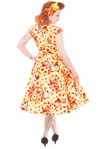 Hearts & Roses Enchinacea Gold Floral 50's Swing Dress