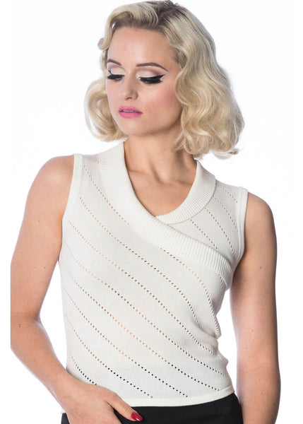 Banned It's a Wrap Pointelle 40's Top White