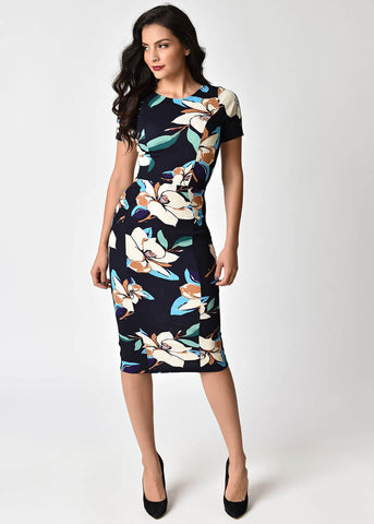 Unique Vintage Roots Magnolia 60's Pencil Dress Navy
