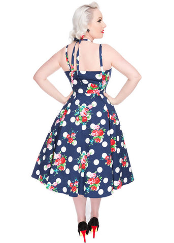 Hearts & Roses Malena Polkadot Rose 50's Swing Dress Blue