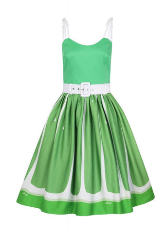 Collectif Jade Lime 50's Swing Dress Green