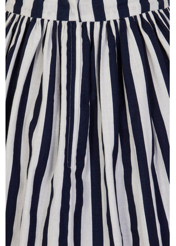 Collectif Jasmine Striped Swing Skirt Navy White