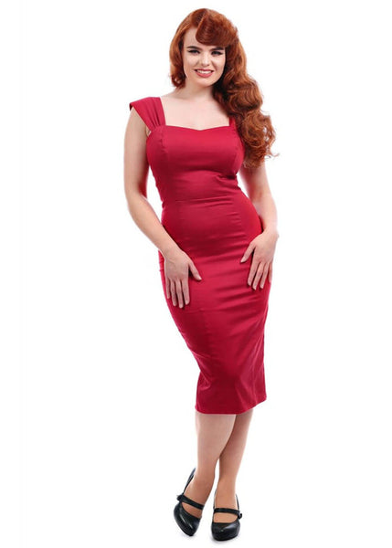Collectif Jill 50's Pencil Dress Red