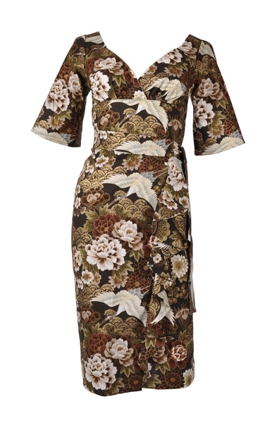 Victory Parade Hiko Waterfall 40's Dress Brown