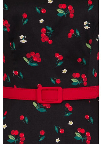 Collectif Suzanne Cherries & Blossom 50's Swing Dress Black