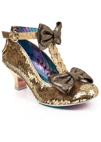 Irregular Choice Total Freedom Pumps Gold Sequins