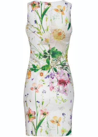 Smashed Lemon Delicate Flower 60's Pencil Dress White Yellow