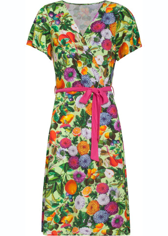 Smashed Lemon Tutti Bouquet 60's A-Line Dress Green Pink