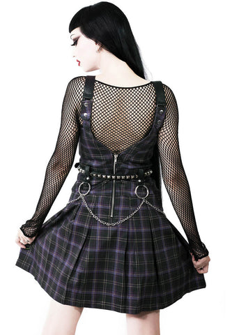 Killstar Regan Tartan Pinafore Dress Purple