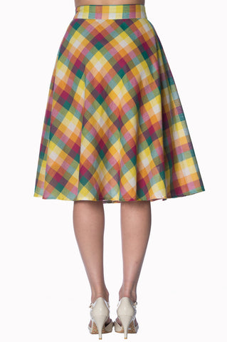Banned Rainbow Check 60's Skirt