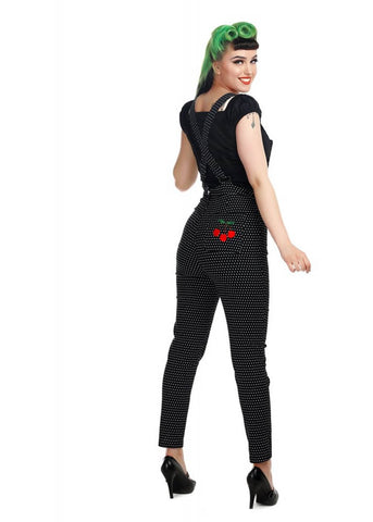 Collectif Madelyn Cherry Polkadot 50's Dungaree Black