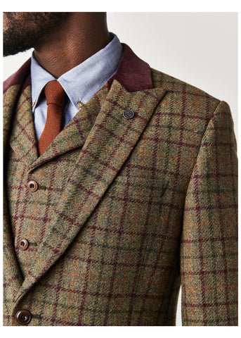 Gibson London Wessex Check Sage Jacket Burgundy Green