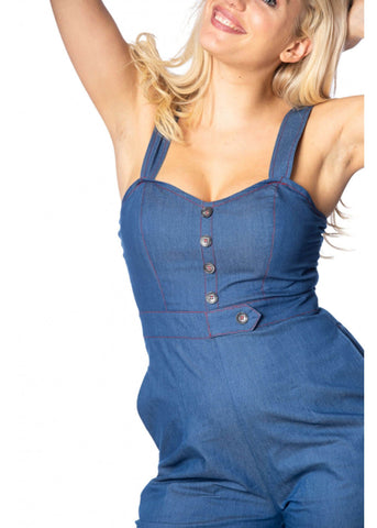 Banned Seaside 60's Jumpsuit Blue