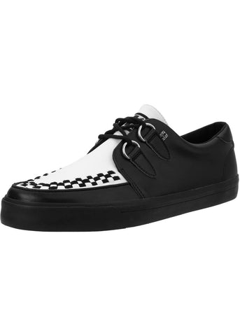 T.U.K Unisex VLK D-Ring Creeper Sneaker Leather Black White