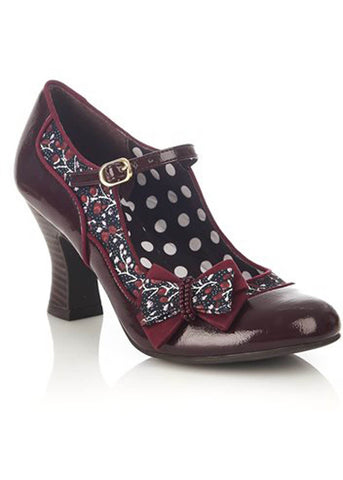 Ruby Shoo Camilla Bow 50's Pumps Burgundy Red