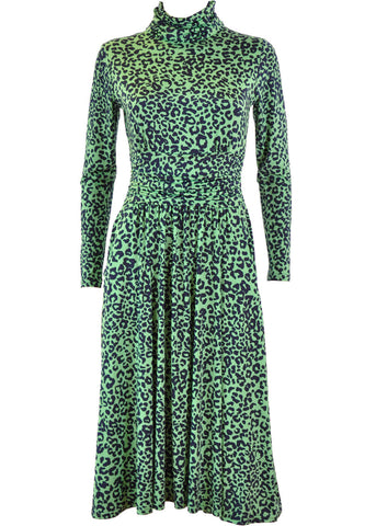 Onjenu Lauren Guepard 70's Dress Green