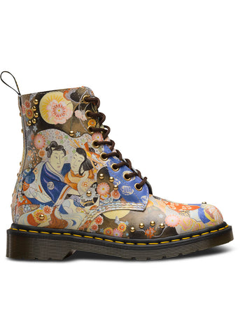 Dr. Martens 1460 Pascal Eastern Art Backhand Straw Grain Laced Boots