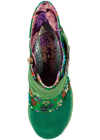 Irregular Choice Miaow Floral Boots Green
