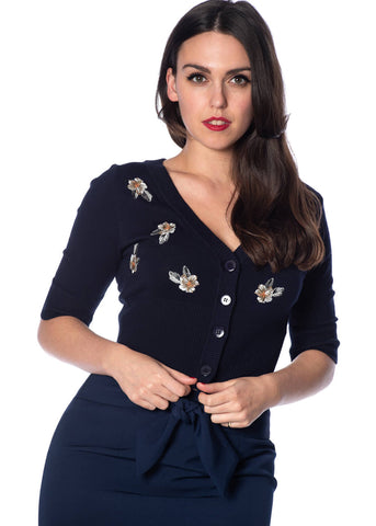 Banned Tiki Floral 50's Cardigan Navy Colour