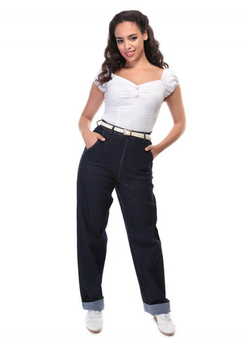 Collectif Siobhan 50's Jeans Navy Blue
